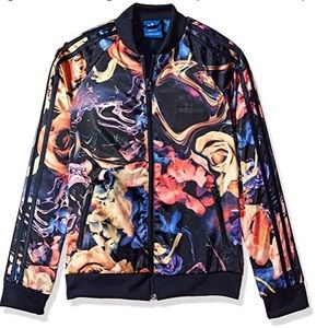 {adidas} floral zip up jacket